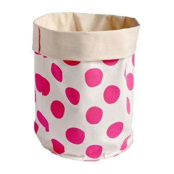 grand panier de rangement pois rose fluo la cerise sur le g teau pour chambre enfant les. Black Bedroom Furniture Sets. Home Design Ideas