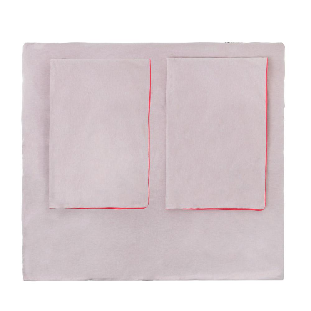 parure de lit bicolore rose poudr marshmallow jack n 39 a qu 39 un oeil pour chambre enfant les. Black Bedroom Furniture Sets. Home Design Ideas