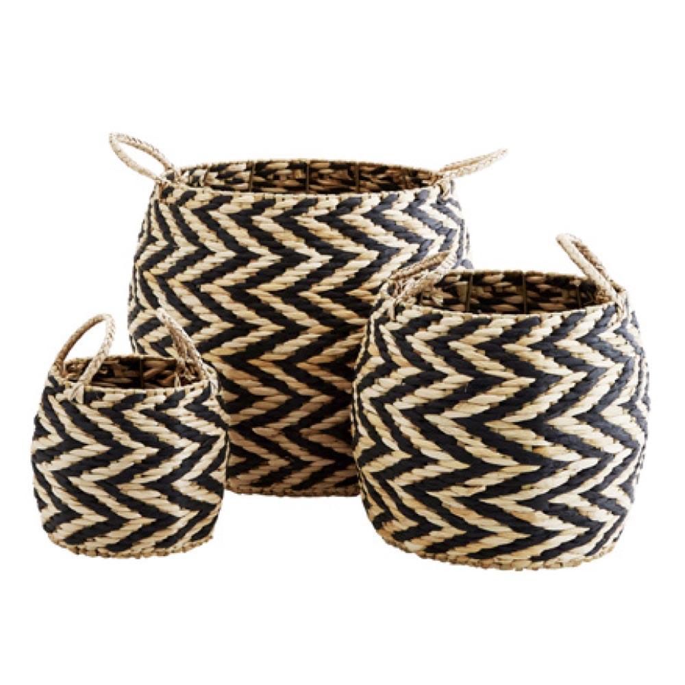 panier en corde zig zag naturel noir madam stoltz pour. Black Bedroom Furniture Sets. Home Design Ideas