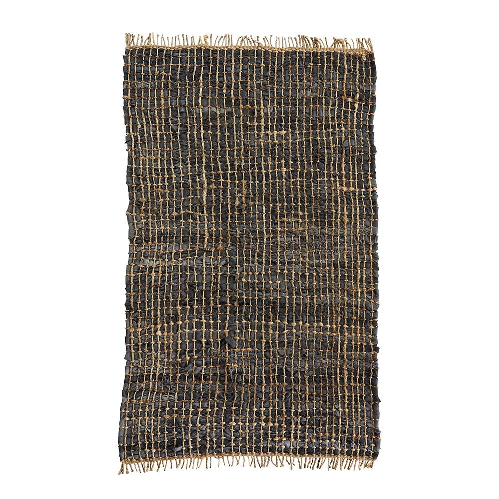 tapis en cuir et chanvre charbon madam stoltz pour chambre enfant les enfants du design. Black Bedroom Furniture Sets. Home Design Ideas