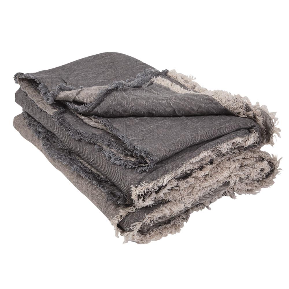 plaid vice versa en lin froiss ardoise givr maison de. Black Bedroom Furniture Sets. Home Design Ideas