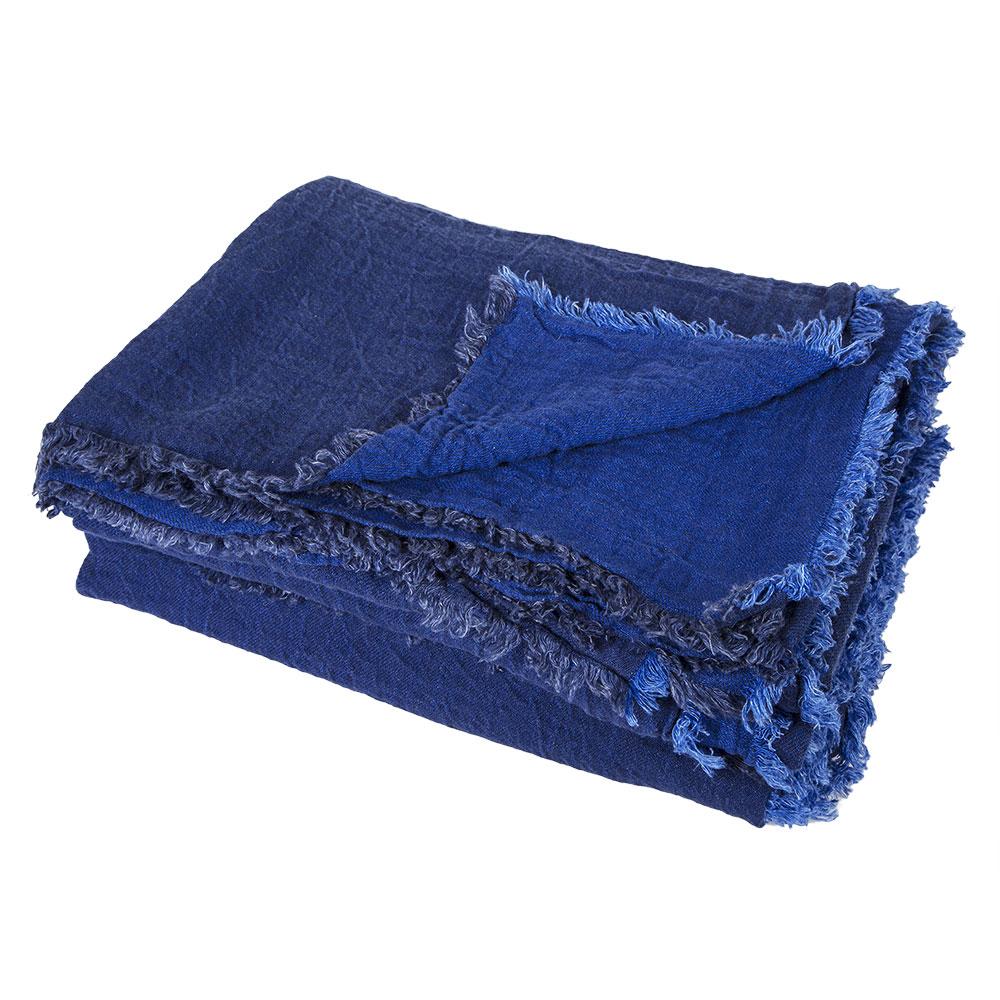 plaid vice versa en lin froiss cobalt indigo maison de vacances pour chambre enfant les. Black Bedroom Furniture Sets. Home Design Ideas
