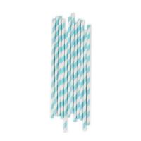 25 pailles rayées - Bleu clair