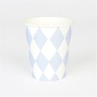 8 gobelets Losanges  - Bleu clair