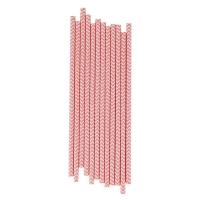 25 pailles Chevrons - Rose clair