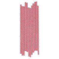 25 pailles Chevrons - Rouge