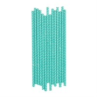 25 pailles Chevrons - Turquoise