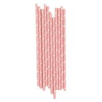25 pailles Etoiles - Blanc/rose