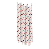 25 pailles Etoiles - Bleu/rouge