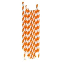 25 pailles rayées - Orange