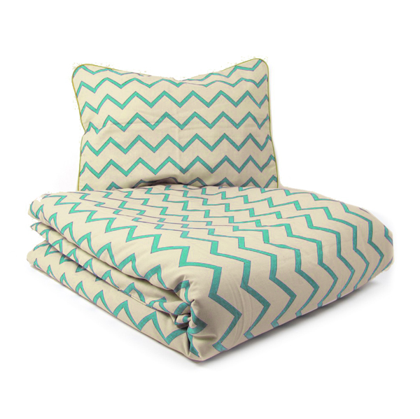 parure de lit junior zig zag vert nobodinoz pour chambre enfant les enfants du design. Black Bedroom Furniture Sets. Home Design Ideas