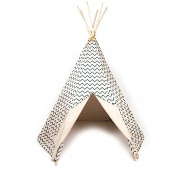 Tipi arizona zig zag bleu nobodinoz pour chambre enfant for Tipi chambre enfant