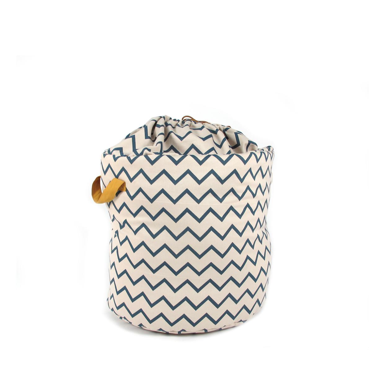 panier de rangement baobab s zig zag bleu nobodinoz pour chambre enfant les enfants du design. Black Bedroom Furniture Sets. Home Design Ideas