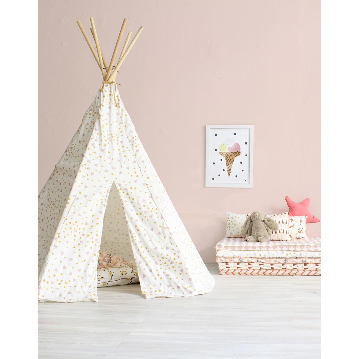 Tipi arizona eclairs   rose/jaune nobodinoz pour chambre enfant ...