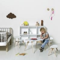 Tabouret enfant PingPong - Blanc/Chêne