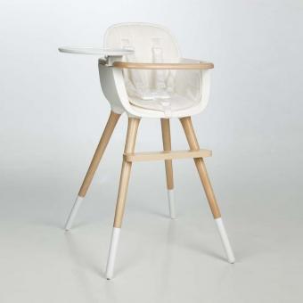 Chaise haute OVO Plus avec harnais - Blanc