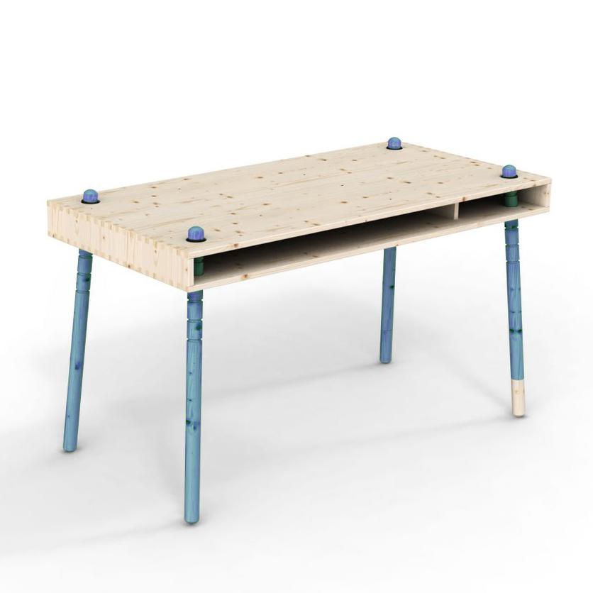 Caspar bureau enfant volutif pieds bleus perludi pour chambre enfant les enfants du design - Bureau enfant evolutif ...