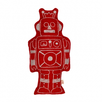 Coussin robot Minc - Rouge ruby