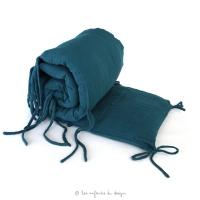 Tour de lit en gaze de coton - Bleu canard