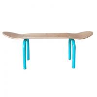 Banc Skate Naturel - Pieds Turquoise