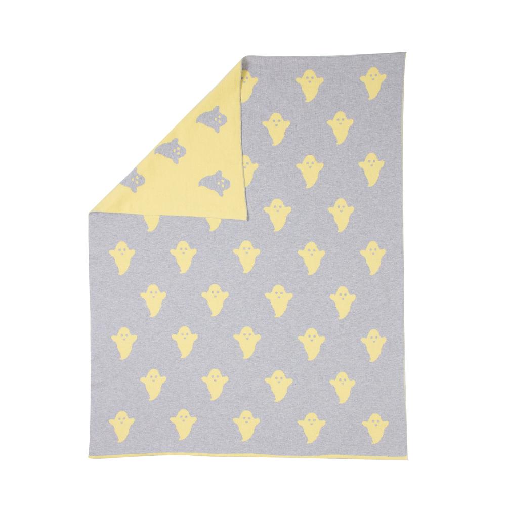 plaid ghost jaune p le woouf pour chambre enfant les. Black Bedroom Furniture Sets. Home Design Ideas