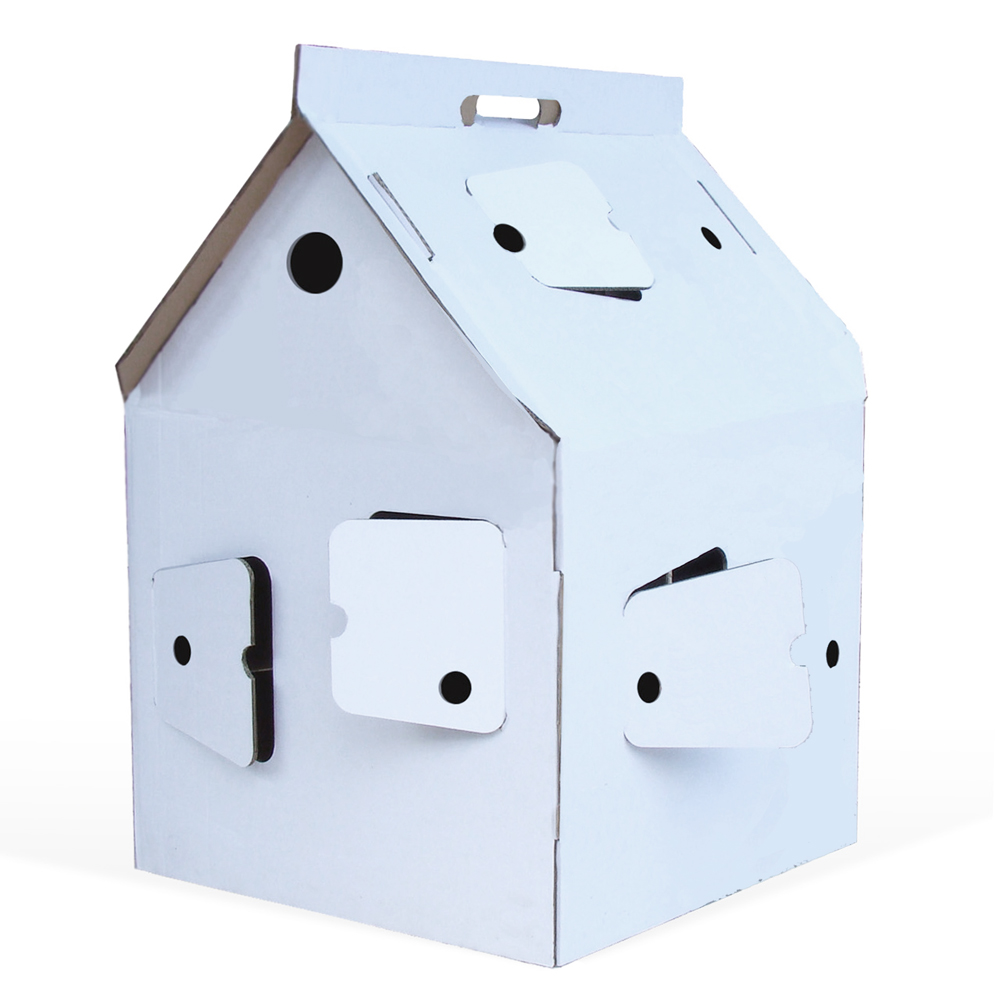 Casa cabana maison en carton blanc studio roof pour for Maison en carton a colorier