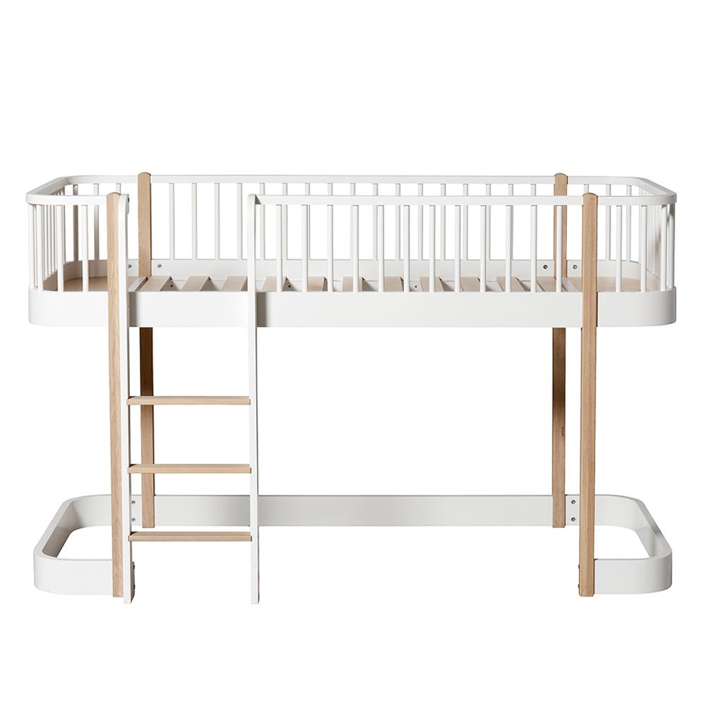 lit mezzanine mi haut wood avec chelle face blanc ch ne. Black Bedroom Furniture Sets. Home Design Ideas