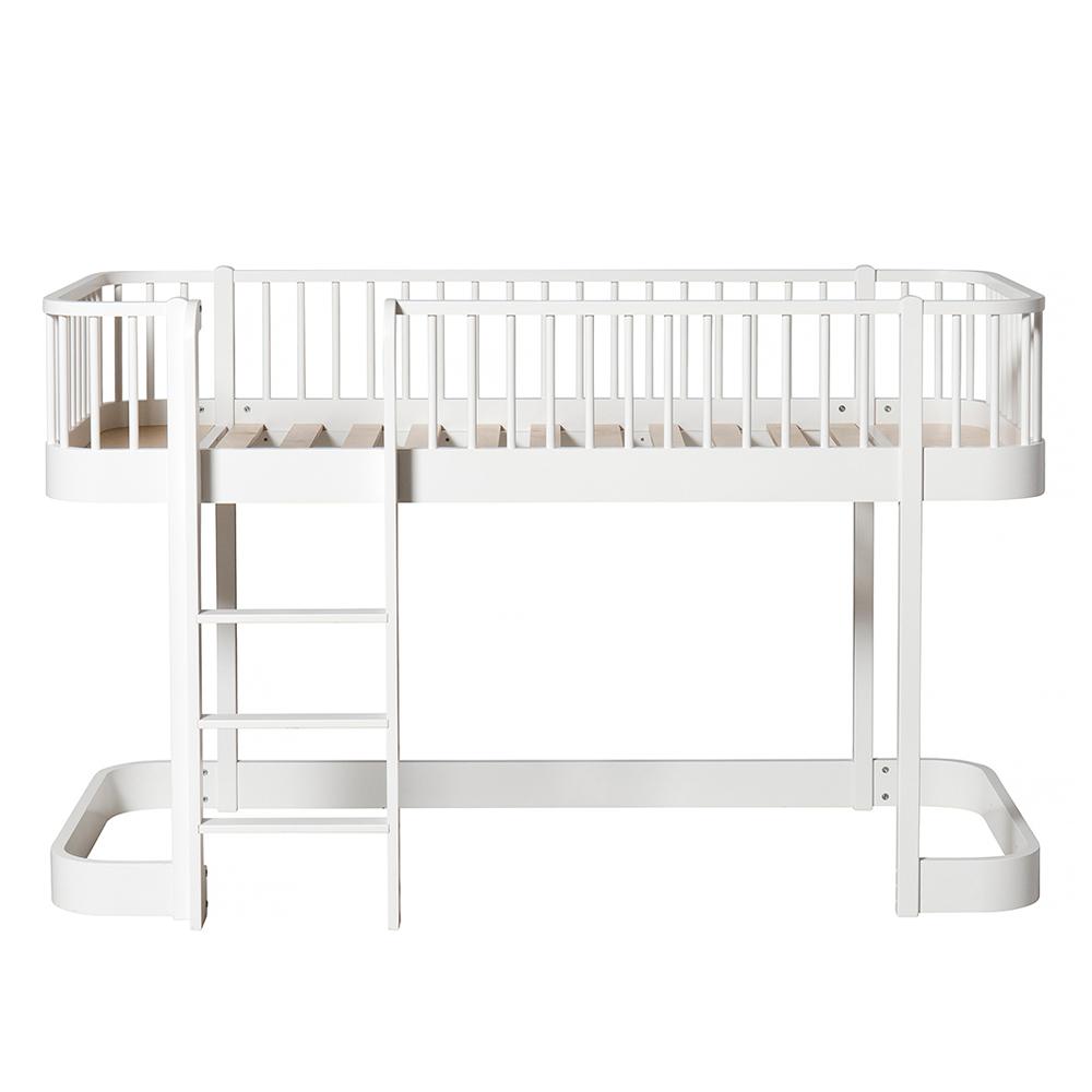 lit mezzanine mi haut wood avec chelle face blanc. Black Bedroom Furniture Sets. Home Design Ideas
