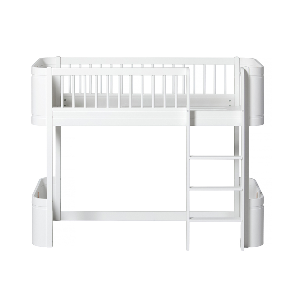 Lit junior mezzanine mi haut mini wood blanc oliver furniture pour chambre - Lit mezzanine junior ...