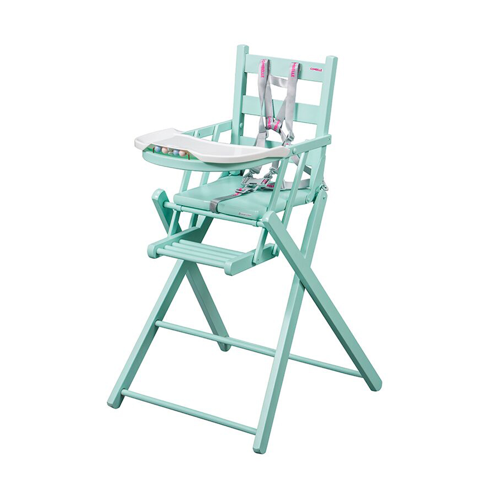 Chaise haute extra pliante sarah laqu mint combelle for Chaise haute combelle extra pliante