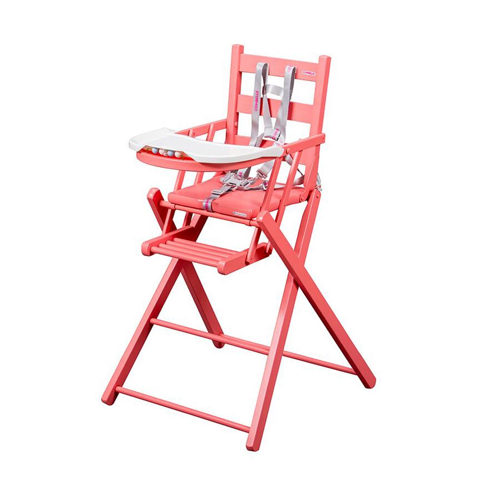 Chaise haute extra pliante sarah laqu rose combelle for Chaise haute combelle pliante