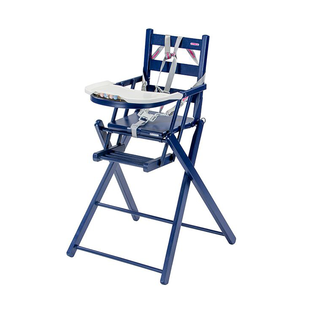 Chaise haute extra pliante sarah laqu bleu marine for Chaise haute combelle pliante