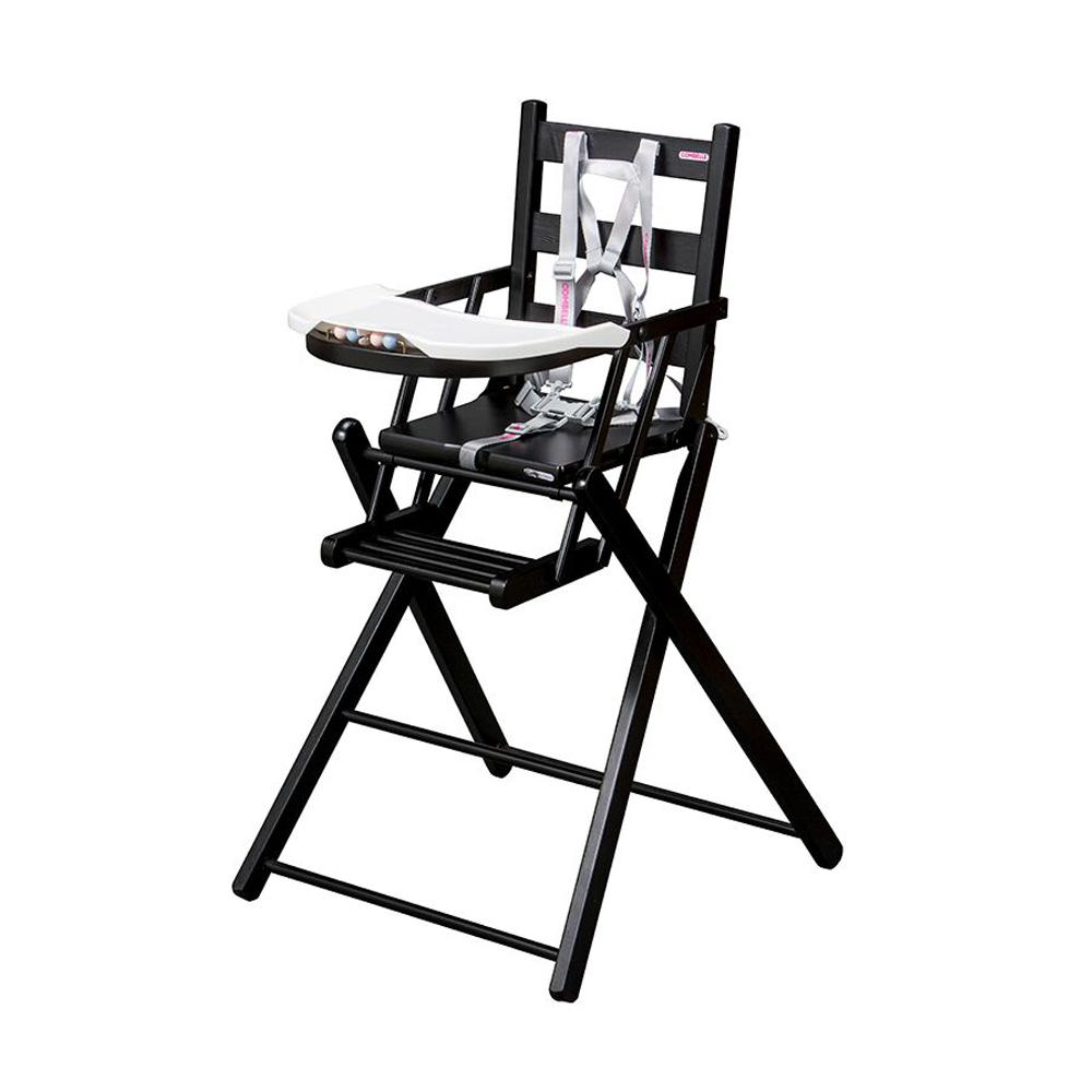 Chaise haute extra pliante sarah laqu noir combelle for Chaise haute combelle extra pliante