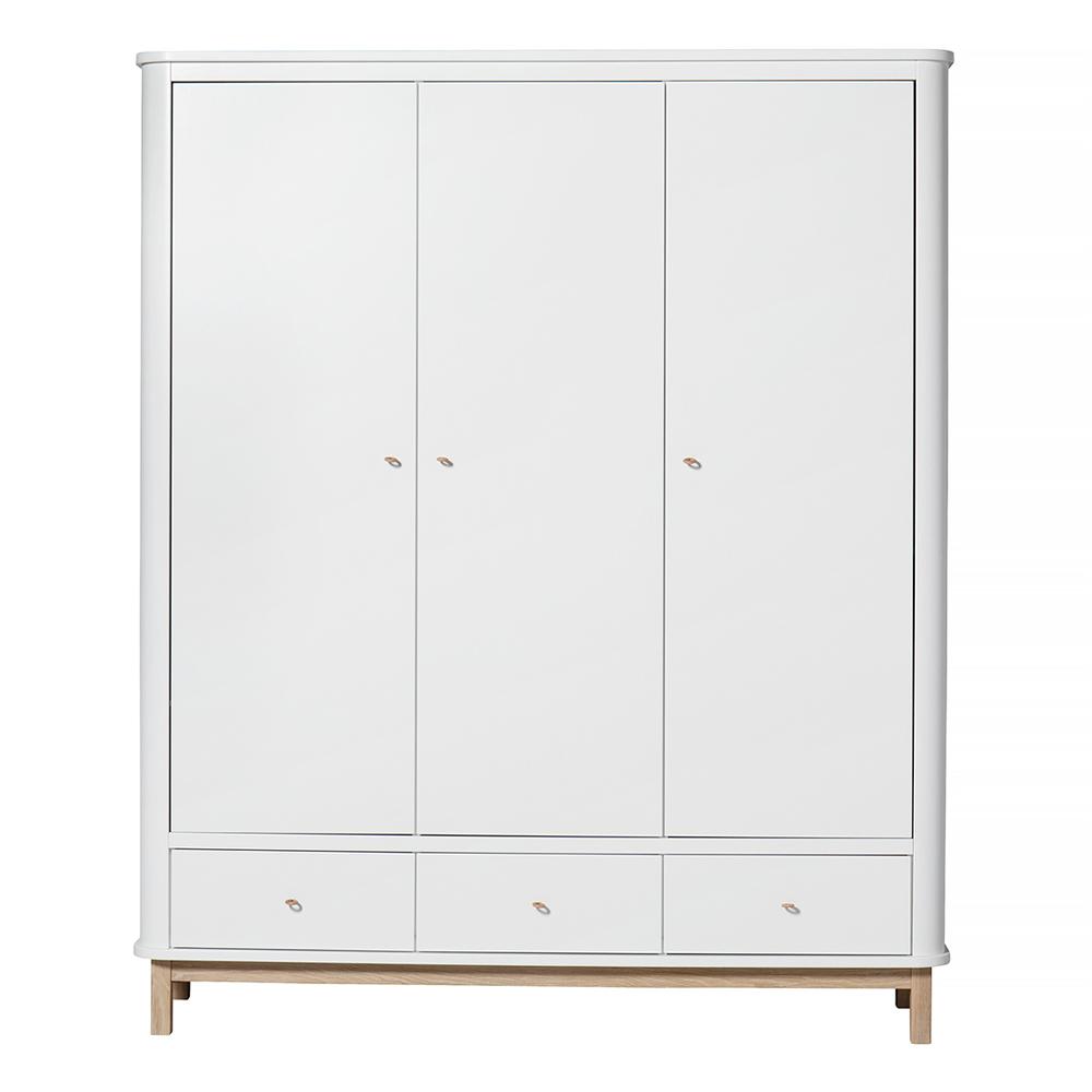 armoire 3 portes wood ch ne blanc oliver furniture. Black Bedroom Furniture Sets. Home Design Ideas