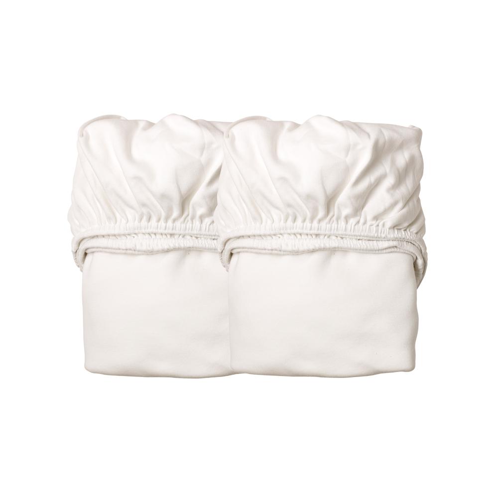 lot de 2 draps housses pour lit b b 60x120cm blanc leander pour chambre enfant les enfants. Black Bedroom Furniture Sets. Home Design Ideas