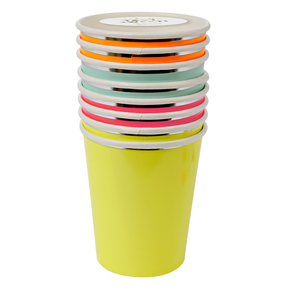 8 gobelets neon meri meri pour chambre enfant les enfants du design. Black Bedroom Furniture Sets. Home Design Ideas