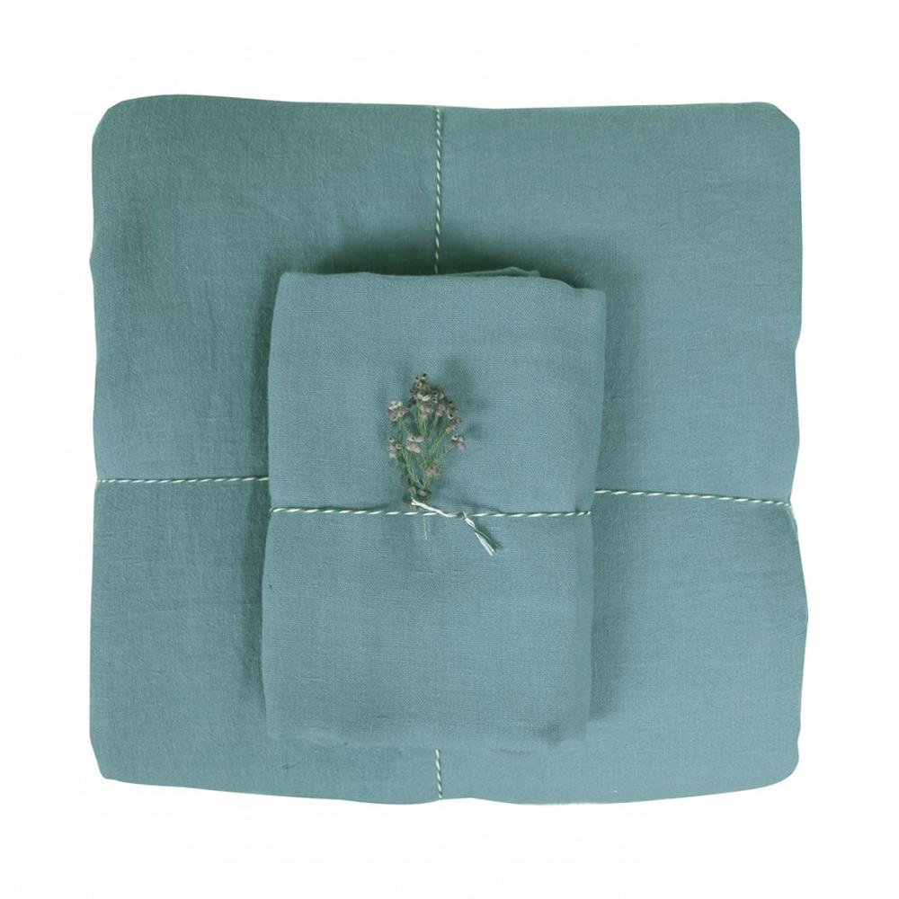Housse de couette lin 100 x 140 bleu horizon lab pour for Housse couette lin