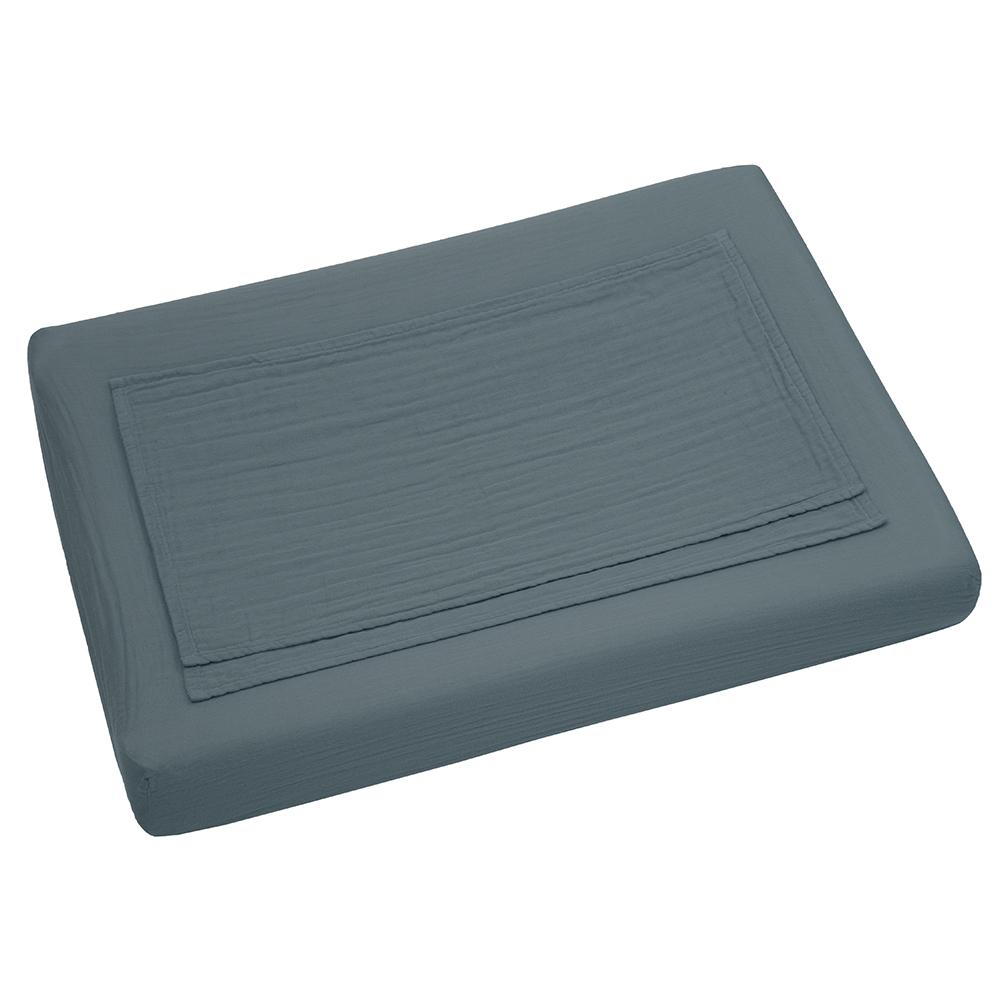 Housse de matelas langer bleu gris num ro 74 pour - Housse de matelas jetable ...