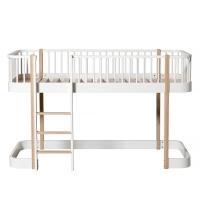 Lit mezzanine mi-haut Wood avec échelle face - Blanc/Chêne