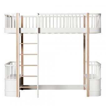 Lit mezzanine Wood avec échelle face - Blanc/Chêne