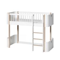 Lit junior mezzanine mi-haut Mini+ Wood - Blanc/Chêne
