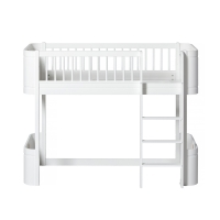 Lit junior mezzanine mi-haut Mini+ Wood - Blanc