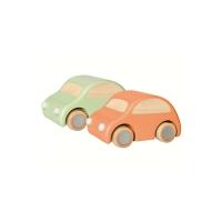 2 voitures en bois à friction - Orange/Vert