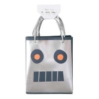 8 sacs de fête Robot - Argent