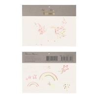 2 planches de tatouages Licorne fleurie et Arcs-en-ciel
