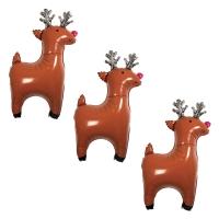 3 ballons Mylar rennes de Noël - Brun