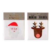 2 planches de tatouages Père Noël et Renne - Multicolore