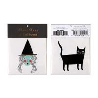 2 planches de tatouages Sorcière et Chat - Multicolore