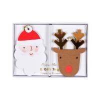 8 étiquettes cadeaux Père Noël et Rennes - Multicolore