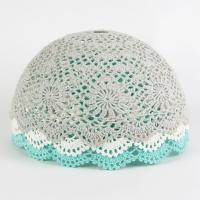 Abat-jour en crochet - Turquoise